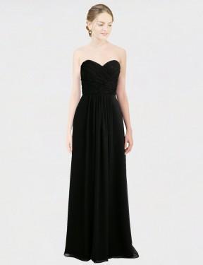 A-Line Sweetheart Strapless Floor Length Long Black Chiffon & Lace Amaris Bridesmaid Dress for Sale