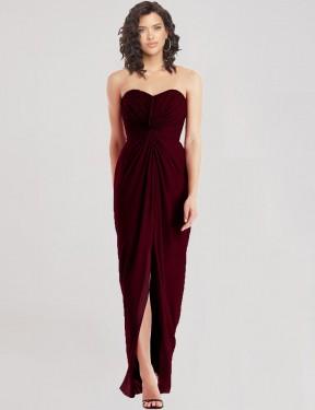 A-Line Sweetheart Strapless Floor Length Long Burgundy Gold Chiffon Ken Bridesmaid Dress for Sale