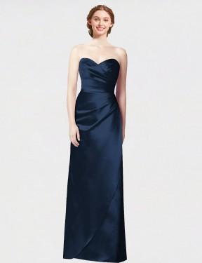 A-Line Sweetheart Strapless Floor Length Long Dark Navy Satin Carmen Bridesmaid Dress for Sale