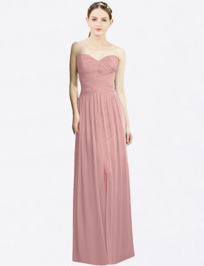 A-Line Sweetheart Strapless Floor Length Long Dusty Pink Chiffon Remington Bridesmaid Dress for Sale