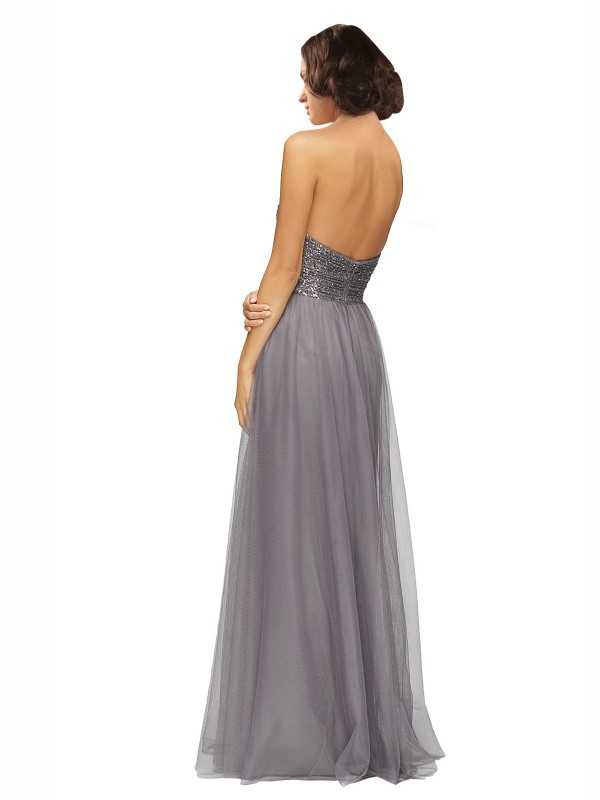 A-Line Sweetheart Strapless Floor Length Long Grey Tulle Laurel Bridesmaid Dress for Sale