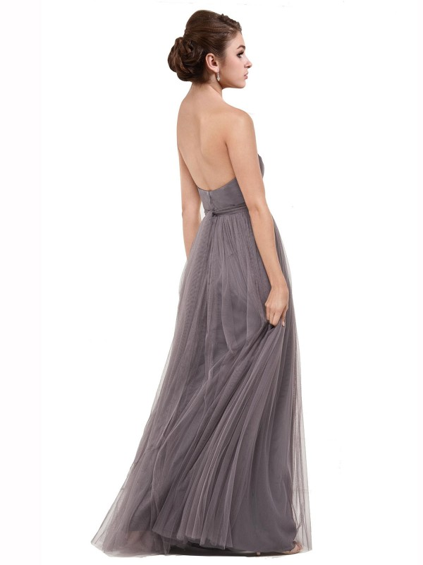 A-Line Sweetheart Strapless Floor Length Long Pewter Tulle Emmy Bridesmaid Dress for Sale