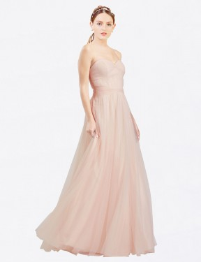 A-Line Sweetheart Strapless Floor Length Long Pink Tulle Layla Bridesmaid Dress for Sale