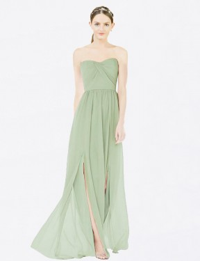 A-Line Sweetheart Strapless Floor Length Long Sage Chiffon Kenley Bridesmaid Dress for Sale