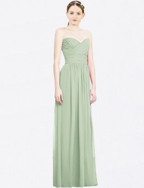 A-Line Sweetheart Strapless Floor Length Long Sage Chiffon Serena Bridesmaid Dress for Sale