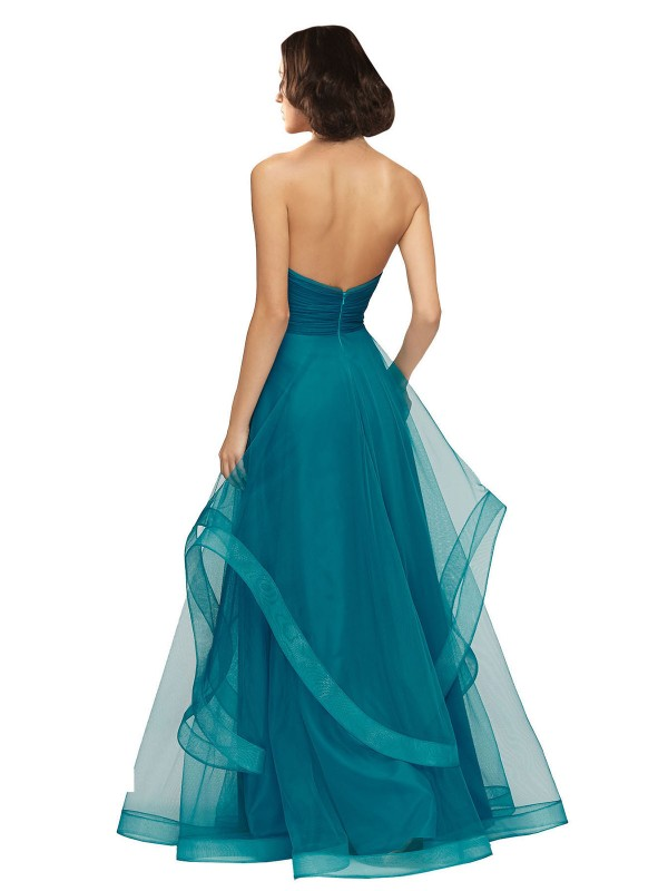 A-Line Sweetheart Strapless Floor Length Long Turquoise Tulle Lacey Bridesmaid Dress for Sale