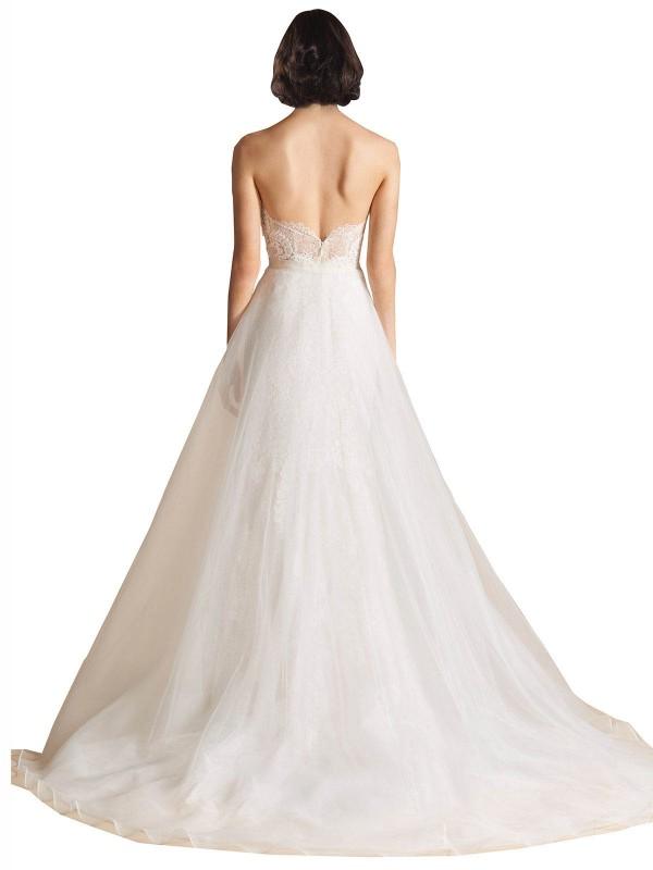 A-Line Sweetheart Sweep Train Long Ivory Organza Kali Wedding Dress for Sale