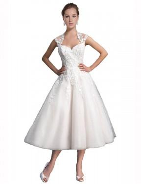 A-Line Sweetheart Tea Length Short Ivory Tulle & Lace Ariella Wedding Dress