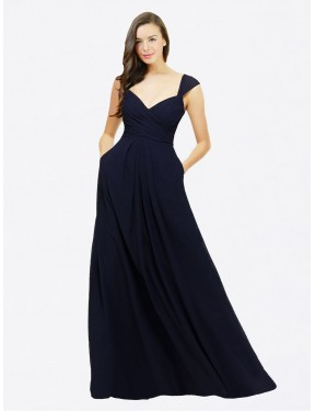 A-Line Sweetheart V-Neck Floor Length Long Dark Navy Chiffon Gary Bridesmaid Dress for Sale