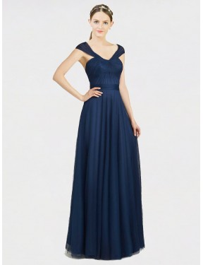 A-Line Sweetheart V-Neck Floor Length Long Dark Navy Tulle Harmoni Bridesmaid Dress for Sale
