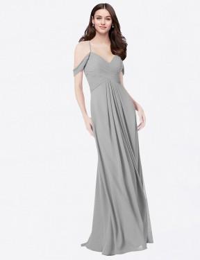 A-Line Sweetheart V-Neck Floor Length Long Silver Chiffon Ursula Bridesmaid Dress for Sale