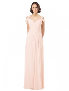 A-Line SweetheartJewelIllusion Off the Shoulder Floor Length Long Pink Chiffon Skylar Bridesmaid Dress for Sale