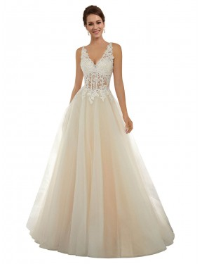 A-Line V-Neck Chapel Train Long Ivory & Champagne Lace & Tulle Amy Wedding Dress for Sale