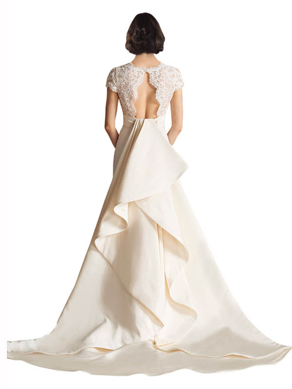 A-Line V-Neck Chapel Train Long Ivory Satin Charlee Wedding Dress for Sale