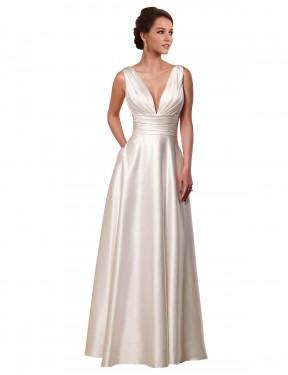 A-Line V-Neck Chapel Train Short Ivory Satin Vivienne Wedding Dress for Sale