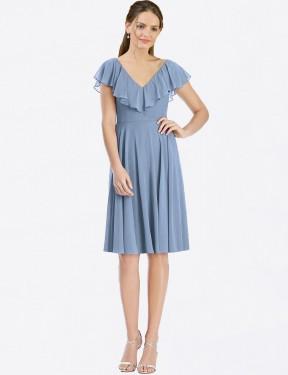 A-Line V-Neck Cocktail Length Knee Length Short Dusty Blue Chiffon Myah Bridesmaid Dress for Sale