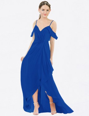 A-Line V-Neck Floor Length High Low Long High Low Royal Blue Chiffon Elora Bridesmaid Dress for Sale