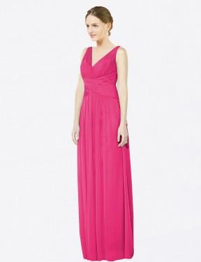 A-Line V-Neck Floor Length Long Azalea Chiffon Emmie Bridesmaid Dress for Sale