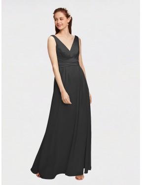 A-Line V-Neck Floor Length Long Black Chiffon Krysta Bridesmaid Dress for Sale