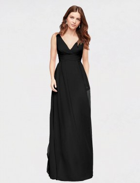 A-Line V-Neck Floor Length Long Black Chiffon Wayne Bridesmaid Dress for Sale
