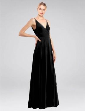 A-Line V-Neck Floor Length Long Black Stretch Velvet Macholl Bridesmaid Dress for Sale