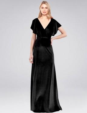 A-Line V-Neck Floor Length Long Black Stretch Velvet Pinto Bridesmaid Dress for Sale