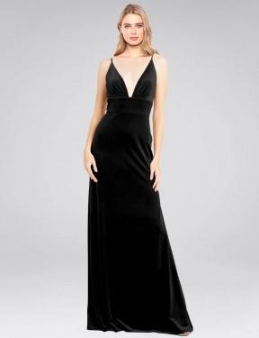 A-Line V-Neck Floor Length Long Black Stretch Velvet Sammi Bridesmaid Dress for Sale