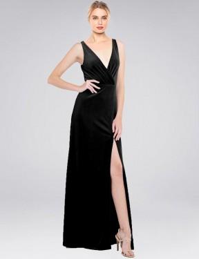 A-Line V-Neck Floor Length Long Black Stretch Velvet Scotti Bridesmaid Dress for Sale