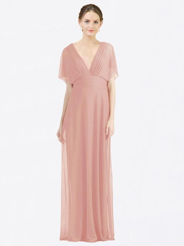 A-Line V-Neck Floor Length Long Bliss Chiffon Zion Bridesmaid Dress for Sale