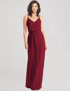 A-Line V-Neck Floor Length Long Burgundy Chiffon India Bridesmaid Dress