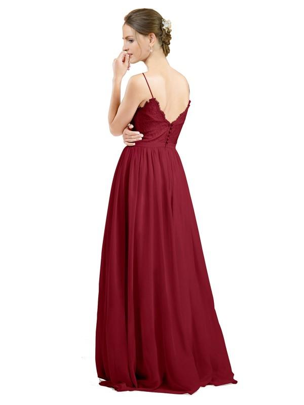 A-Line V-Neck Floor Length Long Burgundy Chiffon & Lace Camila Bridesmaid Dress for Sale