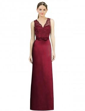A-Line V-Neck Floor Length Long Burgundy Satin Daniella Bridesmaid Dress for Sale