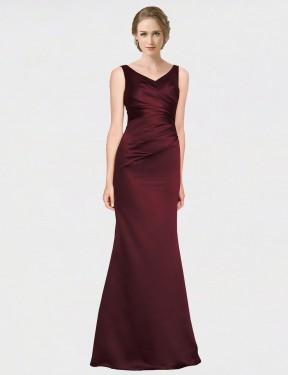 A-Line V-Neck Floor Length Long Burgundy Satin Isabela Bridesmaid Dress for Sale