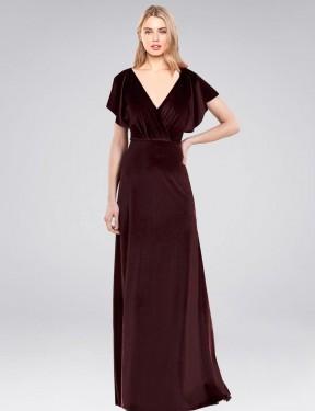 A-Line V-Neck Floor Length Long Burgundy Stretch Velvet Pinto Bridesmaid Dress for Sale