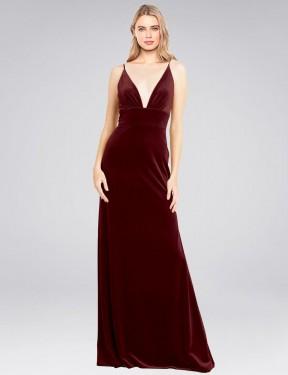 A-Line V-Neck Floor Length Long Burgundy Stretch Velvet Sammi Bridesmaid Dress for Sale