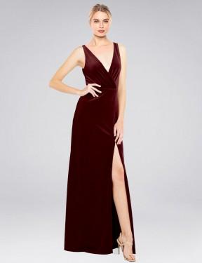 A-Line V-Neck Floor Length Long Burgundy Stretch Velvet Scotti Bridesmaid Dress for Sale