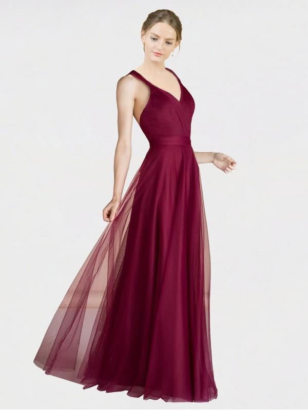 A-Line V-Neck Floor Length Long Burgundy Tulle Claudia Bridesmaid Dress for Sale