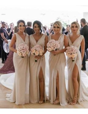 A-Line V-Neck Floor Length Long Champagne Chiffon Carla Bridesmaid Dress for Sale