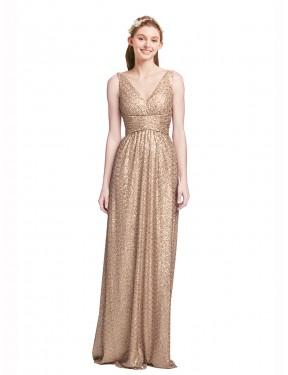 A-Line V-Neck Floor Length Long Champagne Sequin Marissa Bridesmaid Dress for Sale
