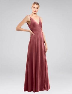 A-Line V-Neck Floor Length Long Cinnamon Rose Stretch Velvet Macholl Bridesmaid Dress for Sale
