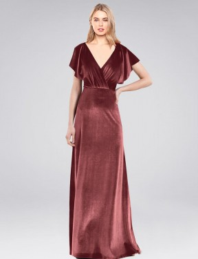 A-Line V-Neck Floor Length Long Cinnamon Rose Stretch Velvet Pinto Bridesmaid Dress for Sale