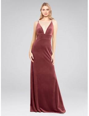 A-Line V-Neck Floor Length Long Cinnamon Rose Stretch Velvet Sammi Bridesmaid Dress for Sale