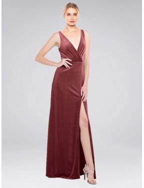 A-Line V-Neck Floor Length Long Cinnamon Rose Stretch Velvet Scotti Bridesmaid Dress for Sale