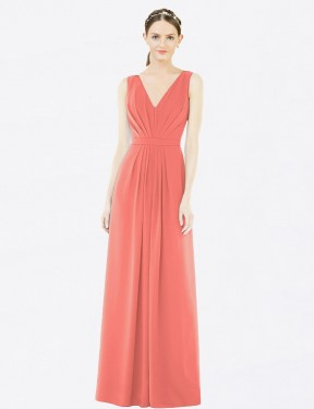 A-Line V-Neck Floor Length Long Coral Chiffon Emmeline Bridesmaid Dress for Sale