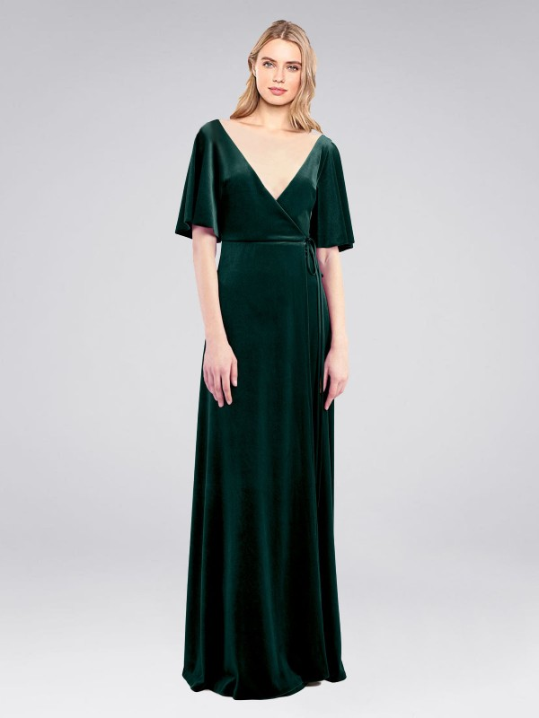A-Line V-Neck Floor Length Long Dark Green Stretch Velvet Dreher Bridesmaid Dress for Sale