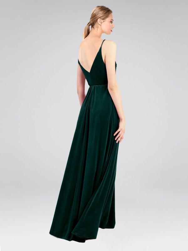 A-Line V-Neck Floor Length Long Dark Green Stretch Velvet Macholl Bridesmaid Dress for Sale
