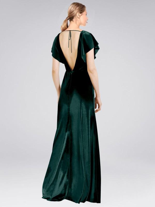 A-Line V-Neck Floor Length Long Dark Green Stretch Velvet Pinto Bridesmaid Dress for Sale