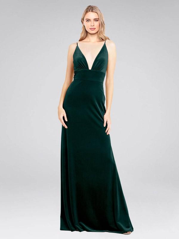 A-Line V-Neck Floor Length Long Dark Green Stretch Velvet Sammi Bridesmaid Dress for Sale