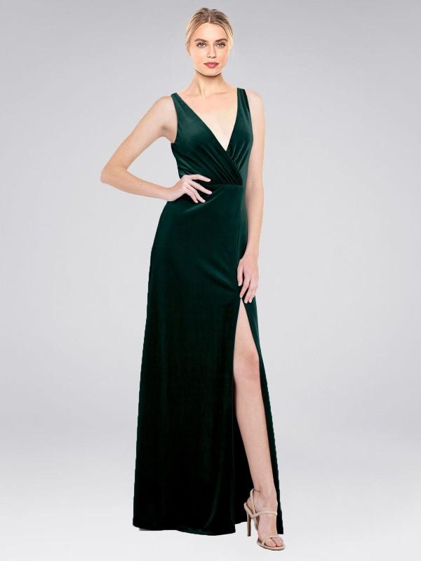 A-Line V-Neck Floor Length Long Dark Green Stretch Velvet Scotti Bridesmaid Dress for Sale