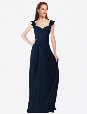 A-Line V-Neck Floor Length Long Dark Navy Chiffon Ashleigh Bridesmaid Dress for Sale